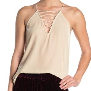 Johnny Was Aurora Lace-Up Velvet Camisole NWT Med